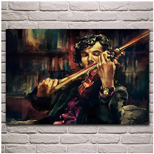 Posters Sherlock Holmes spielt Geige Kunstdruck Visuelle Kunst Leinwand Malerei Bild Poster Wohnraumdekoration Malerei-50x70cm Kein Rahmen