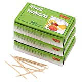 Gmark Round Hotel Toothpicks 800 ct - 3 Boxes Pack Total 2400 ct - 2.5' Natural Wooden Toothpicks GM1021