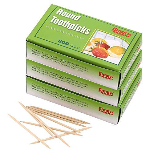 Gmark Round Hotel Toothpicks 800 ct  3 Boxes Pack Total 2400 ct  25quot Natural Wooden Toothpicks GM1021