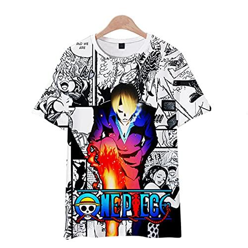 CYANDJ-One Piece-Camiseta de Manga Corta para niños Impresa en 3D, Camisa Polo Neutra y Divertida de Verano, suéter de Fiesta de Moda, Camiseta de Rebeca para niños-150