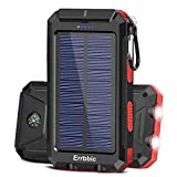 Solar Charger 20000mAh, Portable Phone Charger Mobile Power Bank, Camping Waterproof External Backup Battery Power Pack Dual USB with 2 LED Flashlight for Cell Phone and Other Electronic Devices