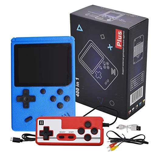 LncBoc Consola de juegos de mano, Mini jugador retro con 400 juegos clásicos del FC de 3 pulgadas, soporte de pantalla a color para conectar TV y dos jugadores, para niños y adultos
