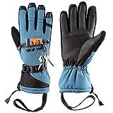 LOHOTEK Guantes de Esquí de Invierno para Hombres y Mujeres - Diseño de Pantalla Táctil a Prueba de Viento para Exteriores (Azul, L)