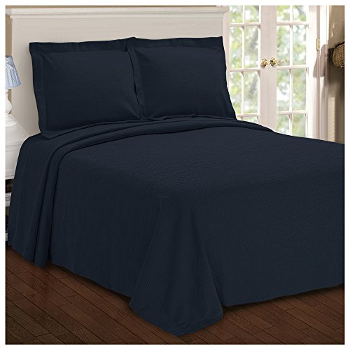 SUPERIOR Paisley Jacquard Matelassee Bedspread - 100% Cotton Quilt with Matching Pillow Shams, Matelassee Coverlet, Navy Blue, Queen Size