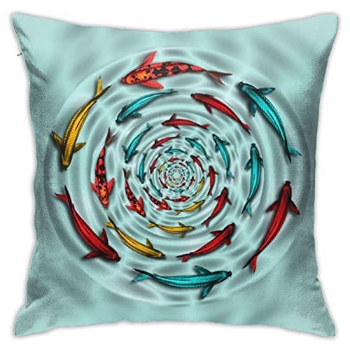 Colorido Koi Fish Circle Mojo Throw Funda de cojín cuadrada para el hogar, sofá, dormitorio, sala de estar, jardín al aire libre, coche, decoración 45 x 45 cm