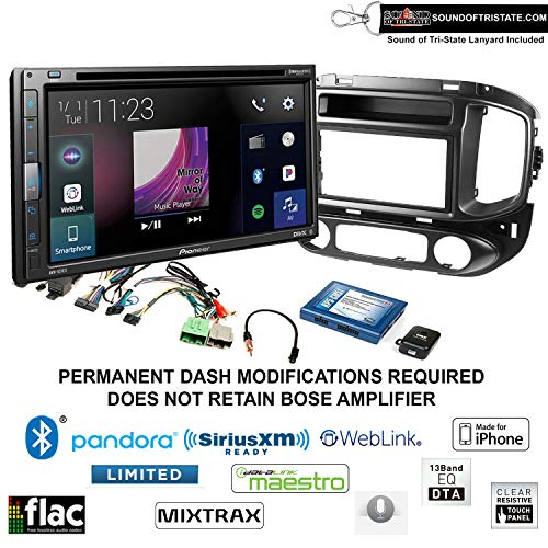 Pioneer AVH-521EX 6.8' DVD Receiver with Installation Kit fits 2015-2017 Chevrolet Colorado, GMC Canyon with Sound of Tri-State Lanyard Bundle