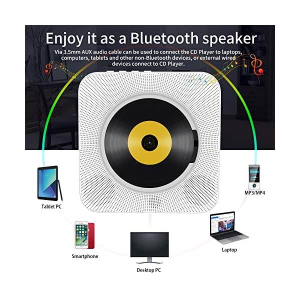 Portable CD Player with Bluetooth, Wall Mountable CD Music Player Home Audio Boombox with Remote Control FM Radio Built-in HiFi Speakers, MP3 Headphone Jack AUX Input Output (White) 10