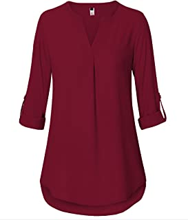 a2f064faa27e9d ELFIN Damen Große Größen Freizeit Lange Ärmel V-Ausschnitt Chiffon Bluse  Locker Shirt Elegante Frauen