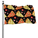 DOWNN Bandera al aire libre 4 x 6 pies 3d Pizza Slices patrón sin costuras a prueba de sol resistente a la decoloración Home Garden Banderas decorativas Banner con ojales para desfiles patios fiestas