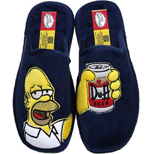 ANDINAS Damen Herren Jungen Mädchen Pantoletten Hausschuhe Pantoffeln Homer Simpson blau, Größe:44, Farbe:Blau