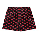 ACSUSS Men's Frilly Satin Boxers Shorts Silk Summer Lounge Halloween Underwear Heart Print Black XL