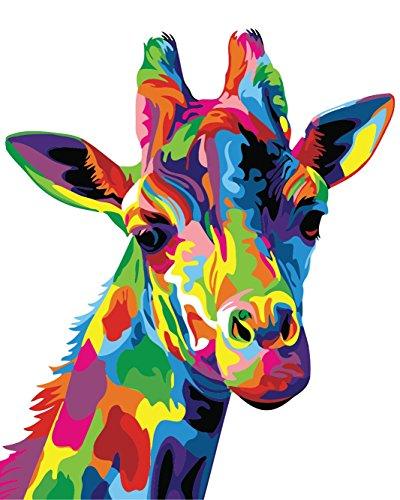 golden maple DIY Malen Nach Zahlen-Vorgedruckt Leinwand-Ölgemälde Geschenk für Erwachsene Kinder Kits Home Haus Dekor - Bunte Giraffe 40*50 cm