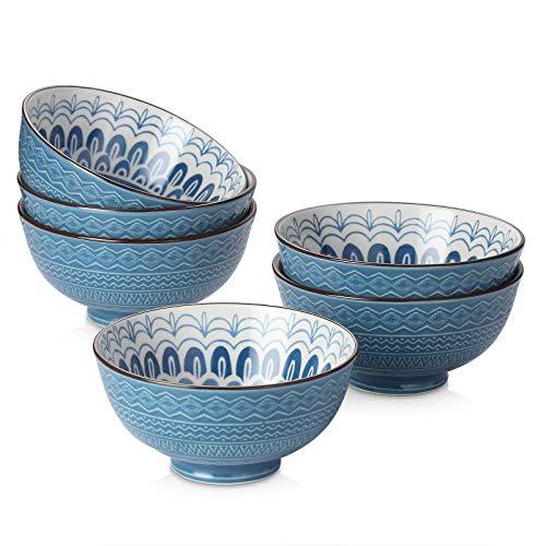 12 Oz Cereal Bowls White Soup Bowls for Cereal Salad Soup Lawei 6 Pack Porcelain Bowls Set Rice Dessert