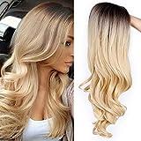 Peluca rubia larga rizada ondulada para mujer, peluca completa de pelo sintético con...