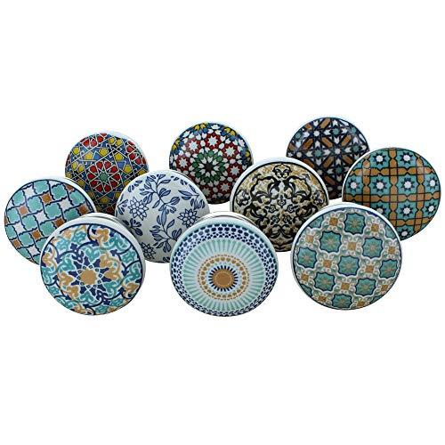 10er-Set Türknaufe, Motiv: Positive Energy VI, aus Keramik, im Vintage-/Shabby Chic-Stil, für Schrank, Schublade, Griffe zum Aufziehen mit Dekor