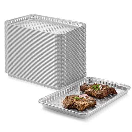24-Pack Disposable Aluminum Foil BBQ Grill Topper Pan  Prevents Food from Falling into the Grill or Sticking to the Grate  No Clean Up Required  Perfect for Camping and Outdoor Use - 15 x10 x1.5
