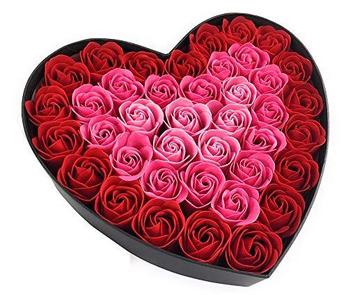 バスフレグランス ローズ ハートボックス スタンド付 バラ 花の形の入浴剤 Q-FLA (レッド)