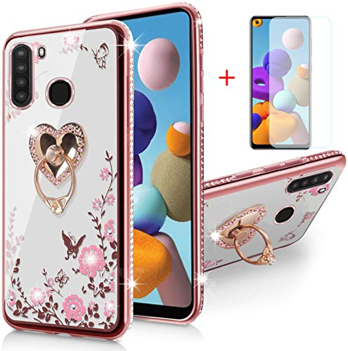 Samsung Galaxy A21 Case with Tempered Glass Screen Protector(US Version), Glitter Crystal Butterfly Heart Floral Series-Bling Clear Soft TPU Case with Ring Stand for Samsung Galaxy A21 (Rose Gold)