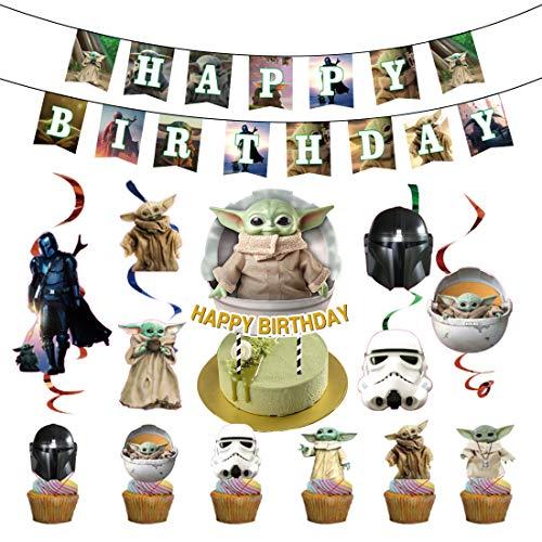 32Piezas Baby Yoda Decoración de la Fiesta de cumpleaños HANEL-Star Wars Cumpleaños del Welcome Decoraciones cupcakes para Colgar en el Tema para niños