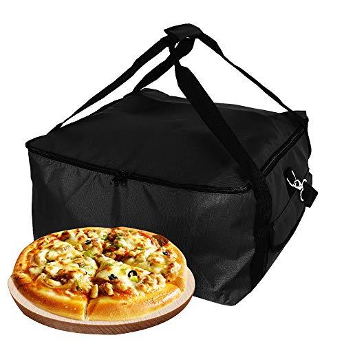 Bolsa de envío de pizza, bolsa isotérmica sólida, impermeable, gran capacidad, 42 x 42 x 23 cm, bolsa de picnic para casa, restaurante, supermercado, color negro