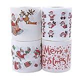 2/4 unidades de papel higiénico impreso, diseño de Papá Noel, papel higiénico con motivos navideños para el baño, artículos de Navidad, decoración de Navidad E-4PCS Talla única