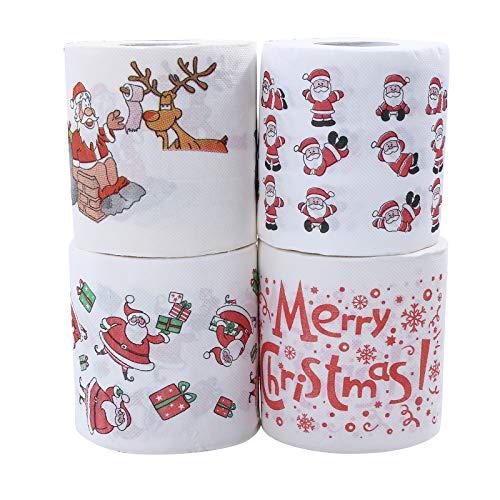 4 Stücke Weihnachten Toilettenpapier, Weihnachten Muster Serie Rollenpapier lustige Toilettenpapier für Spaß Geburtstag Party Neuheit Geschenkidee Wohnzimmer Dekor,Weihnachten Serviette