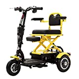 GJHW Silla de Ruedas eléctrica Plegable Triciclo eléctrico Scooter casero Motor sin escobillas Freno de Doble Disco con luz,12AHleadacidbattery/30km