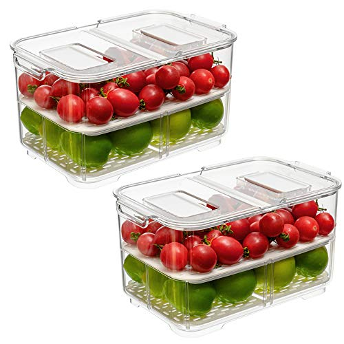 Produce Saver Food Storage Container with Lids and VentsVegetable Fruit Storage Containers Stackable Salad Lettuce Keeper for Refrigerator,set of 2