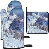 Gray Pine Trees Mountains Guantes para horno de nieve y soportes para ollas...