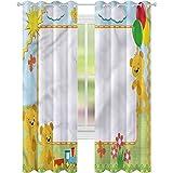 Tenda da finestra per treno bambini giocattolo orsacchiotto fiori W52 x L72 tende per soggiorno