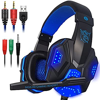 Gaming Headset with Mic and LED Light for Laptop Computer, Cellphone, PS4 and the New Xbox One, DLAND 3.5mm Wired Noise Isolation Gaming Headphones - Volume Control.(Black and Blue)