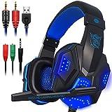 Gaming Headset mit Mic und LED Licht für Laptop Computer, Handy, PS4 und die Neue Xbox One, DLAND 3.5mm Wired Noise Isolation Gaming Kopfhörer - Lautstärkeregelung (Schwarz und Blau)