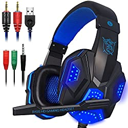 powerful Gaming headset with microphone, laptop, mobile phone, LED light for PS4, 3.5 mm DLAND cable connection …