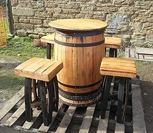 Cheeky Chicks Recycled Solid Oak Whiskey Barrel Bar Table and 4 Stools