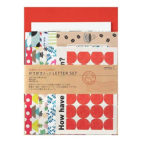 ミドリ レターセット ガサガサ 10種類封筒 赤 86763006