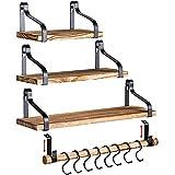 Clarke`s Decor - Floating Shelves - Wall Shelves - Set of 3 - Hanging Wood Shelves for Bedroom Bathroom or Kitchen - Wall Shelf with Hooks - Small Home Rustic Bookshelf - Bathroom Shelves