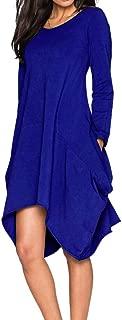 Jojckmen Women Girls Long Sleeve Pocket Dress Handkerchief Hem Female Midi Dresses