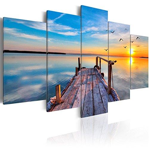 murando Quadro Mare Natura 200x100 cm 5 pezzi Stampa su tela in TNT XXL Immagini moderni Murale Fotografia Grafica Decorazione da parete Cielo Paesaggio Ponte Tramonto c-B-0124-b-n
