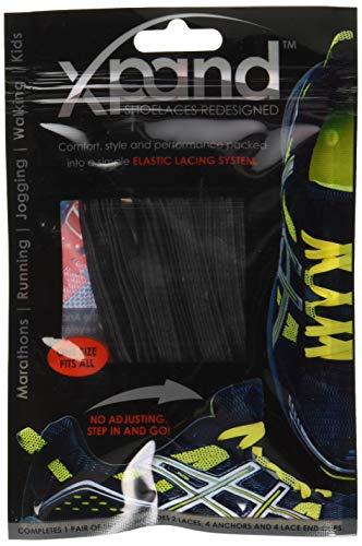 Xpand Schnürsenkel ohne Binden, flache elastische Schnürsenkel mit verstellbarer Spannung, 30 Farben, zum Überziehen, für alle Schuhe Perfekt für Marathon und Triathlon Läufer, Turnschuhe, Kinder, ältere Menschen usw., Schwarz , Einheitsgröße