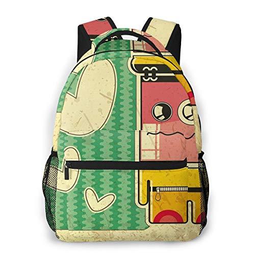 Laptop Rucksack Daypack Schulrucksack Backpack Trauriger Game Boy, Business Taschen Freizeit Rucksack Arbeits Schultasche für Herren Männer Schüler Schule