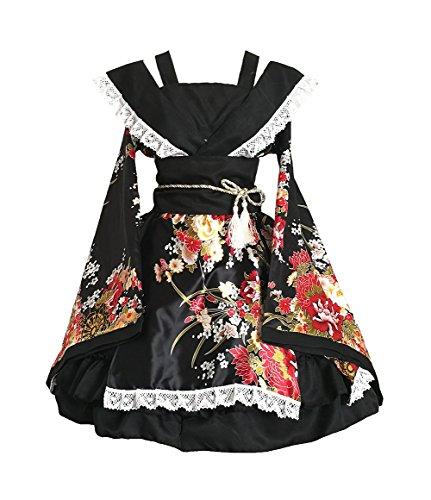 AvaCostume Womens Flower Printing Lace Edge Kimono Stlye Lolita Dress, Black L