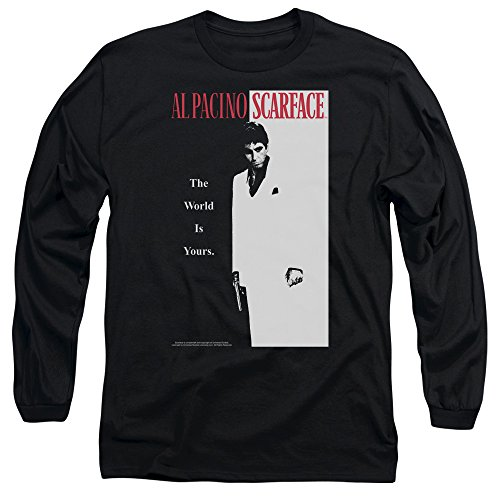 Scarface Classic Unisex Adult Long-Sleeve T Shirt for Men and Women, Small Black