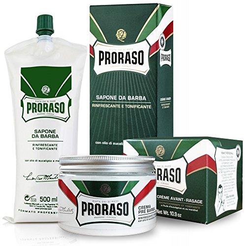 Proraso Crème de pré-rasage 300ml + Proraso Savon à Raser 500ml. KIT Professionnel pour tous les types de barbes.