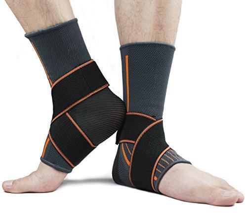 X-Cool Soportes de Tobillo Ajustable Protector Compresión Transpirable Nylon Tobillera Protector estabilizador Alivio del Dolor En Deportes Y Fitness para Hombre y Mujer