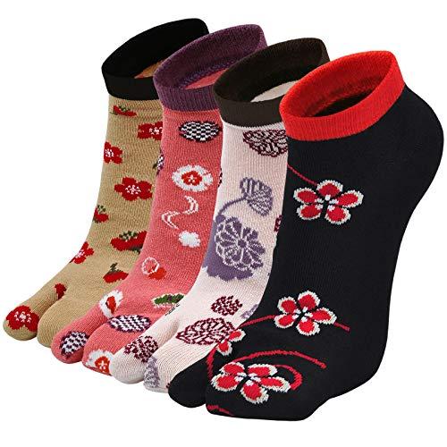 Flip Flop Calcetines Tabi para mujer, 2 dedos, calcetines japoneses, calcetines de algodón elegantes y divertidos, 4 pares