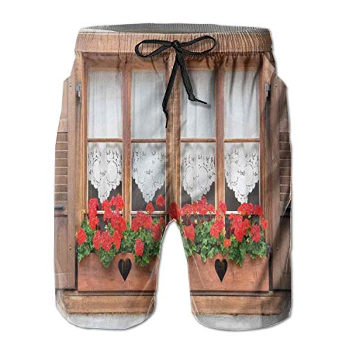Men's Big and Tall Swim Trunks Beachwear Drawstring Summer Holiday,Print of Old European Windows with Shutters and Flowers Pots Image in Rurals Boho,3D Print Shorts Pants,XX-Large