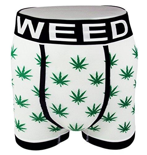 Boxers slips fantaisie pour hommes - feuilles de marijuana - Sous-vêtements (lot de 3 ou simple) Noir, Rouge, Blanc - Blanc - Large