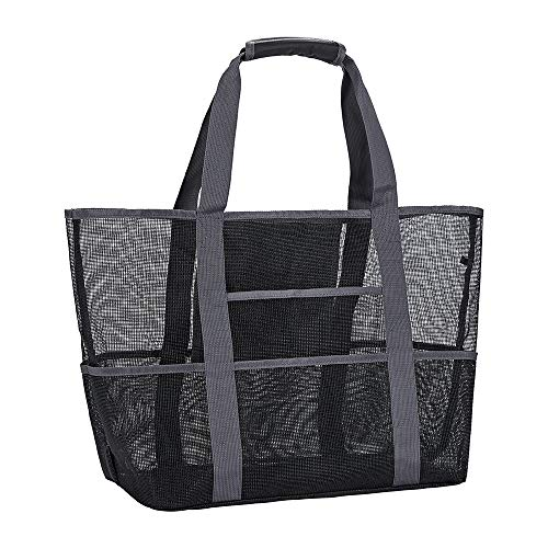 Mesh Beach Bag,Toy Tote Bag with Waterproof Inside Pockets for iPad,Lightweight & Foldable Mesh Tote Bag for Beach, Picnic