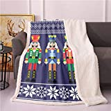 SeptSonne Nutcracker Fleece Throw Blanket,Colorful Retro Style Pattern with Xmas and Scandinavian Motifs Blanket Small Quilt,Heavy Sherpa Blanket(50'X60' inches,Indigo and White)
