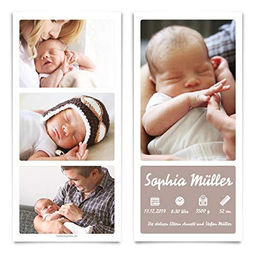 30 x Geburt Danksagungskarten Geburtskarten individuell mit Foto und Text für Mädchen und Jungen - Fotostreifen